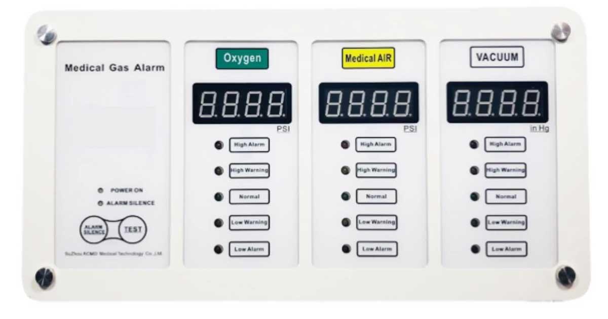 Por menores de la alarma maestra de gases medicinales
